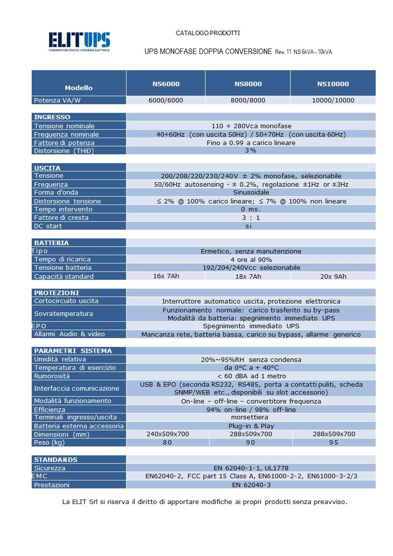 : UPS MONOFASE ON LINE DOPPIA CONVERSIONE 6kVA – 10kVA serie NS LCD pf1 - TECHNICAL DATA