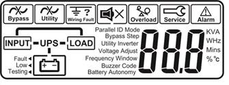 UPS MONOFASE ON LINE DOPPIA CONVERSIONE 6kVA – 10kVA serie NS LCD pf1 - LCD DISPLAY